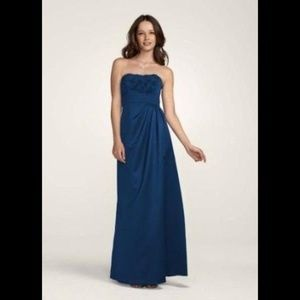 David's Bridal Long Strapless Gown 6
